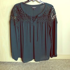 Express Forest Green Lace Up Long Sleeve